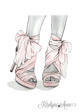 PINK BOWS, Graphite pencil, watercolour, pen and ink
